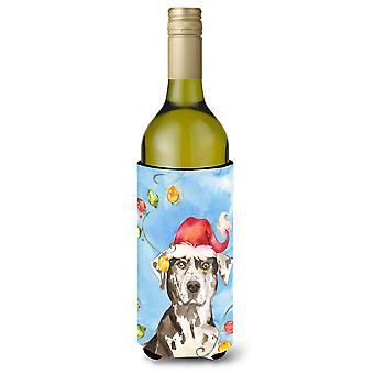 Christmas Lights Catahoula Leopard Dog Wine Bottle Beverage Insulator Hugger