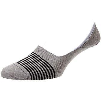 Pantherella Sienna Stripe Egyptisch katoen onzichtbare sokken - licht grijs Mix
