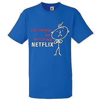 Mens skulle jag snarare att titta på Netflix Royal Blue Tshirt