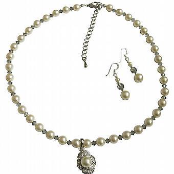 施华洛世奇奶油玫瑰珍珠水晶项链手工制作自定义的珠宝