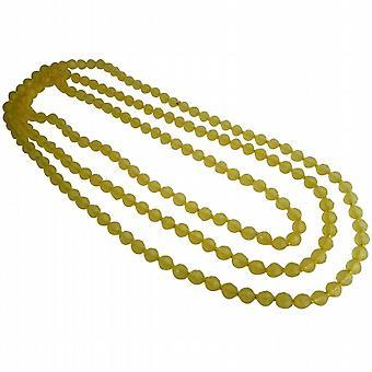 Lyse gul påskelilje Chunky længe mangefacetteret perler sommer halskæde