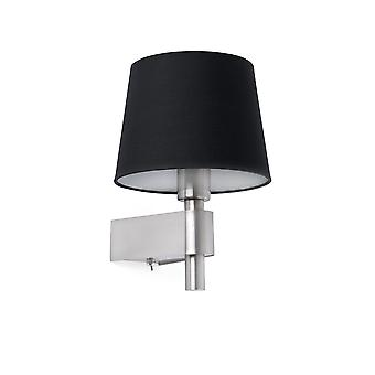Faro - værelse Satin nikkel og sort væg lampe FARO29975