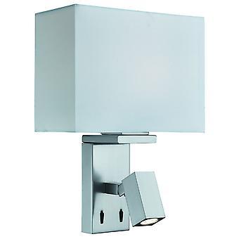 Satijn Zilver muur licht met verstelbare leeslamp - zoeklicht 0882SS