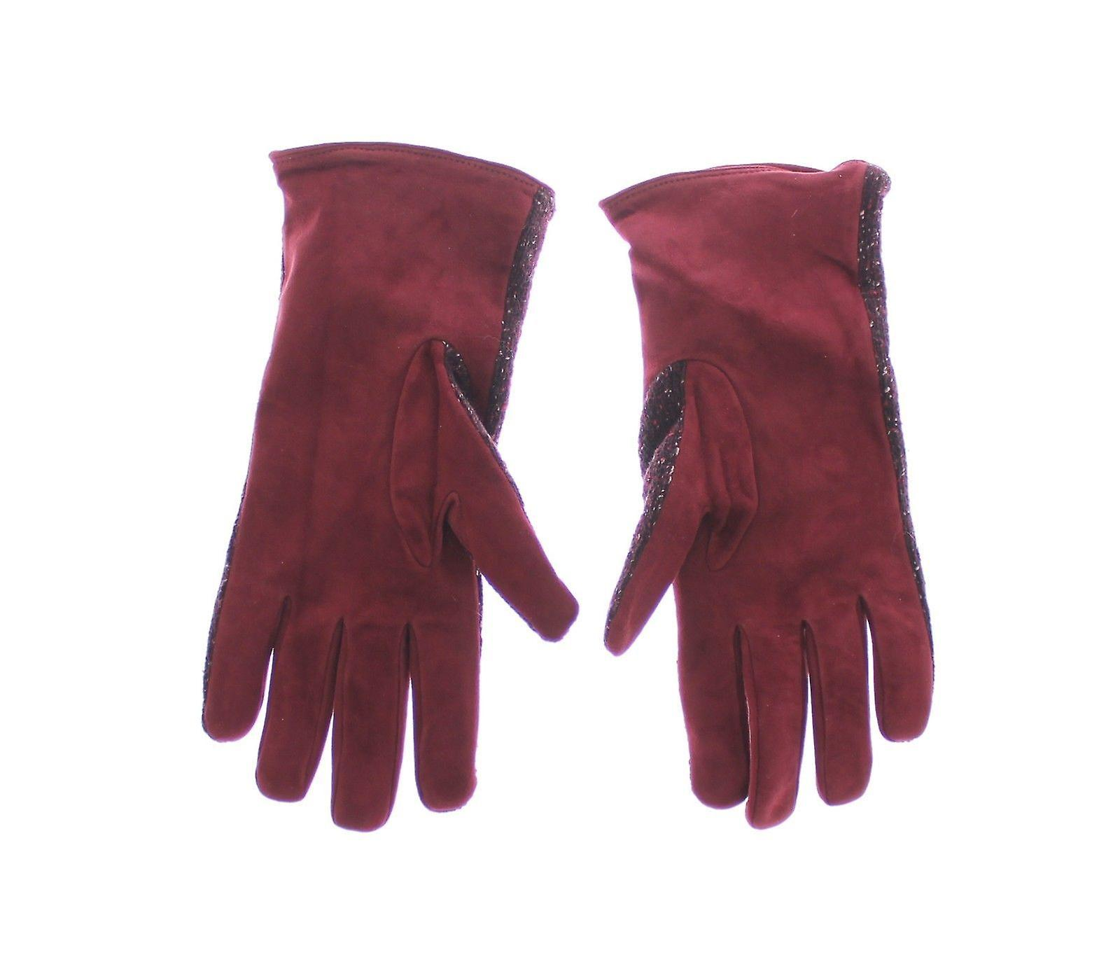 Mens red fabric leather wrist gloves hand
