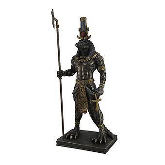 Sobek oude Egyptische krokodil God van de Nijl gebronsd Finish standbeeld