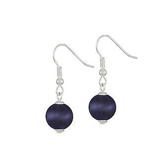 Eternal Collection Melody Black/Purple Cats Eye Silver Tone Drop Pierced Earrings