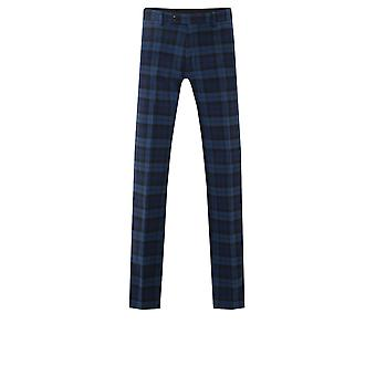 Dobell Mens Blue Tartan Trousers Regular Fit