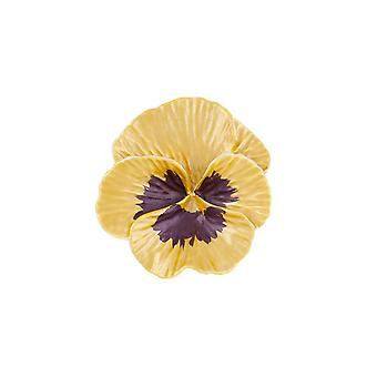 Eternal Collection Pansy Perfection Yellow Enamel Silver Tone Flower Brooch