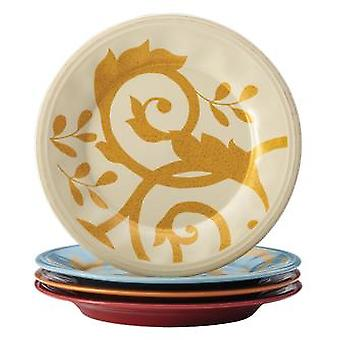 Rachael Ray Dinnerware Gold Scroll 4-Piece Salad Plate Set Assorted