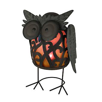 Metal Art Filigree Hoot Owl LED Lighted Solar Statue