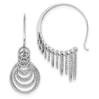 925 Sterling Silver Shepherd hook Rhodium plated Rhodium Plated Sparkle Cut Circles Dangle Hoop Earrings Jewelry Gifts f