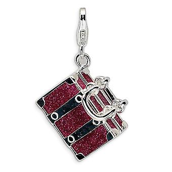 925 Sterling Silver Moveable Rhodium plated Fancy Lobster Closure 3 D Enameled Fuschia Luggage With Lobster Clasp Charm