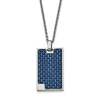 Stainless Steel Polished With Blue Carbon Fiber Animal Pet Dog Tag Necklace 22 Inch Jewelry Gifts for Women