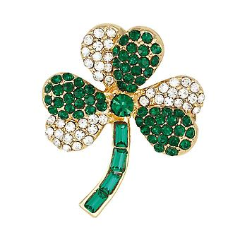 Eternal Collection Charming Green And Clear Crystal Gold Tone Shamrock Brooch