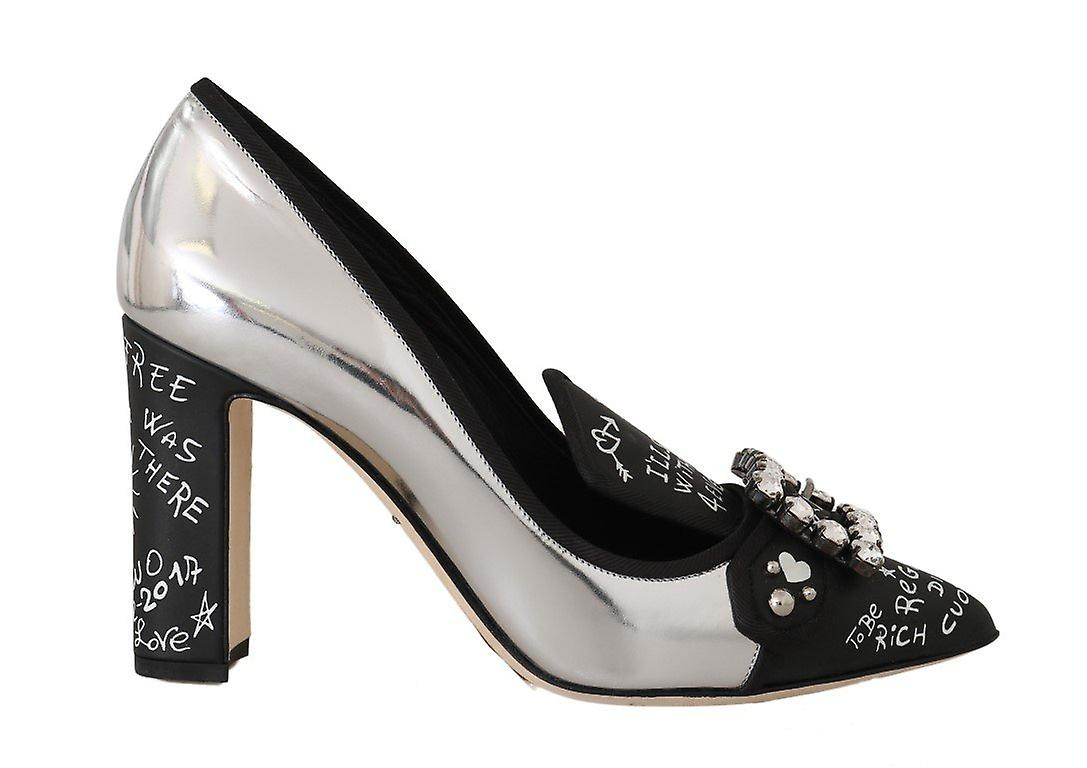 Silver Mirrored Leather Crystal Pumps