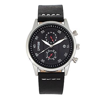 Race Andreas Leather-Band Watch w/ Date - Argent/Noir