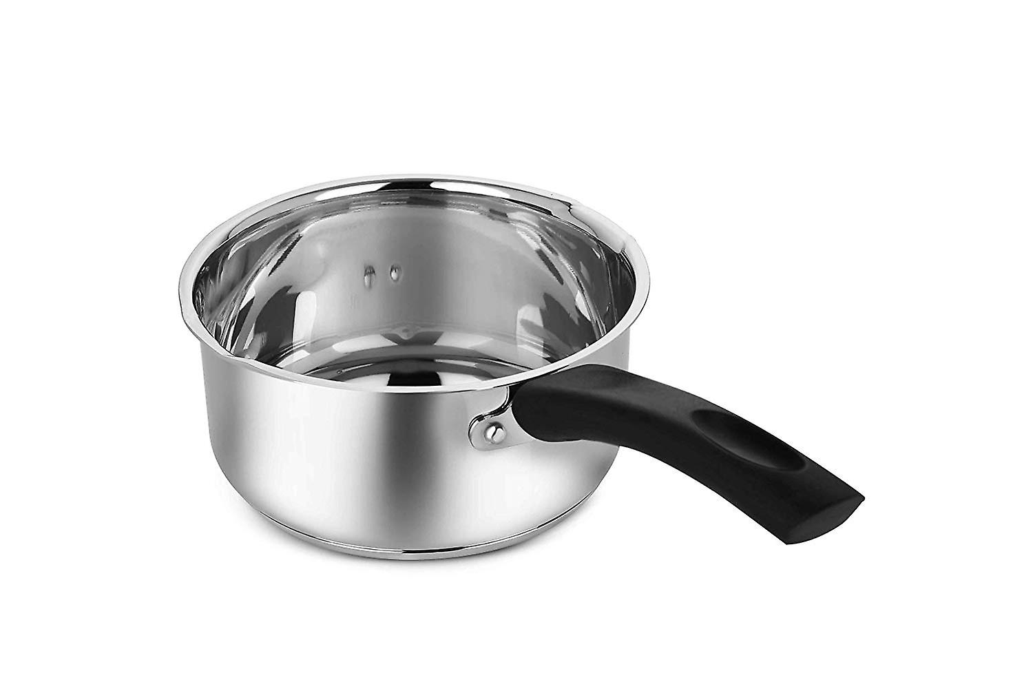 Penguin Home Professional Induction-Safe Saucepan with Lid, Stainless Steel, Black Handle