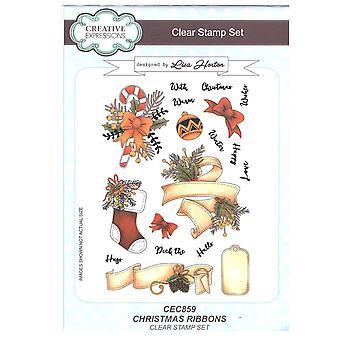 Creatieve uitingen duidelijk Stamp ingesteld door Lisa Horton - Kerstmis Ribbons