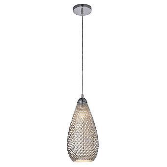 Endon Livia LED 1 Licht Anhänger Silber Quecksilber Glas, Chromplatte 77095