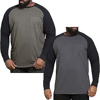 Duke D555 Hombres Illinois Gran Alto Kingsize Manga Larga Crew Cuello Camiseta Top Camiseta