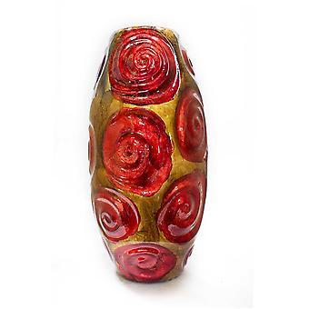 """7.5"""" X 7.5"""" X 14"""" Cobre rojo y oro de la mesa de cerámica jarrón"""