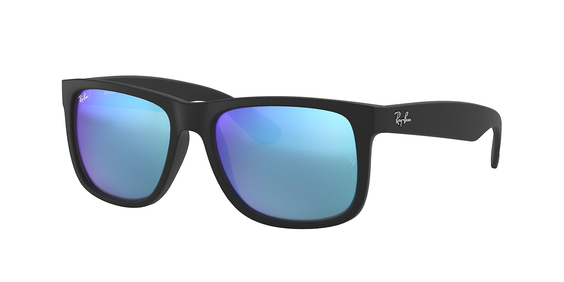 Ray-Ban Justin RB4165 622/55 Black Rubber/Green Mirror Blue Sunglasses