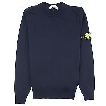 Stone Island 524c4 Crewneck Wool Knit Navy Blue V0020