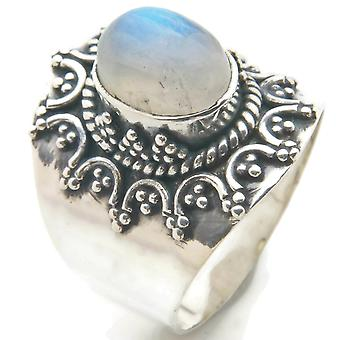 Moonstone Ring 925 Silver Sterling Silver Silver Women's Ring White (IRM 94-04)