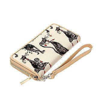 Marilyn robertson - catitude long zip rfid ladies' purse by signare tapestry / lzip-cude