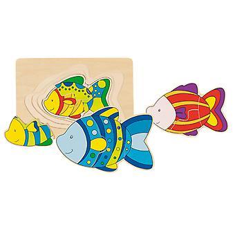 3-Schicht aus Holz Puzzle Fisch
