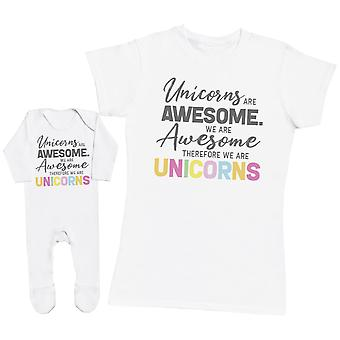 Unicorns Are Awesome - Baby T-Shirt & Mother's T-Shirt