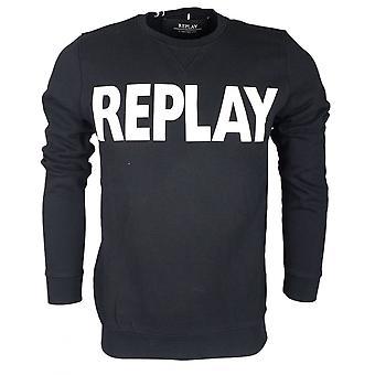 Replay Round Neck Cotton Black Sweatshirt