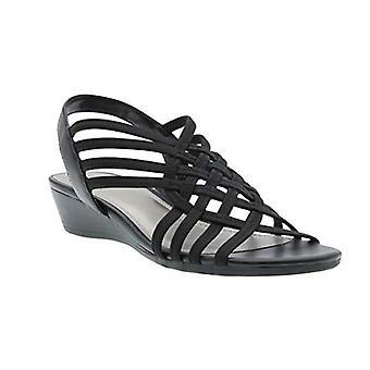 Refresh Stretch Wedge Sandal (6M, Black)