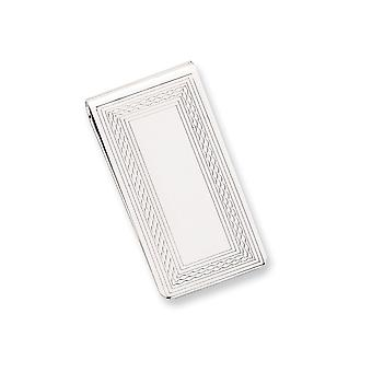 Solid Polished Engravable Silver plated and Rhodium Patterned Border Money Clip Jewelry Gifts for Men
