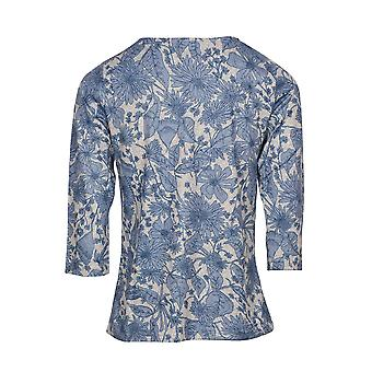 Petra 3/4 Sleeve Floral Print Top in Navy Blue