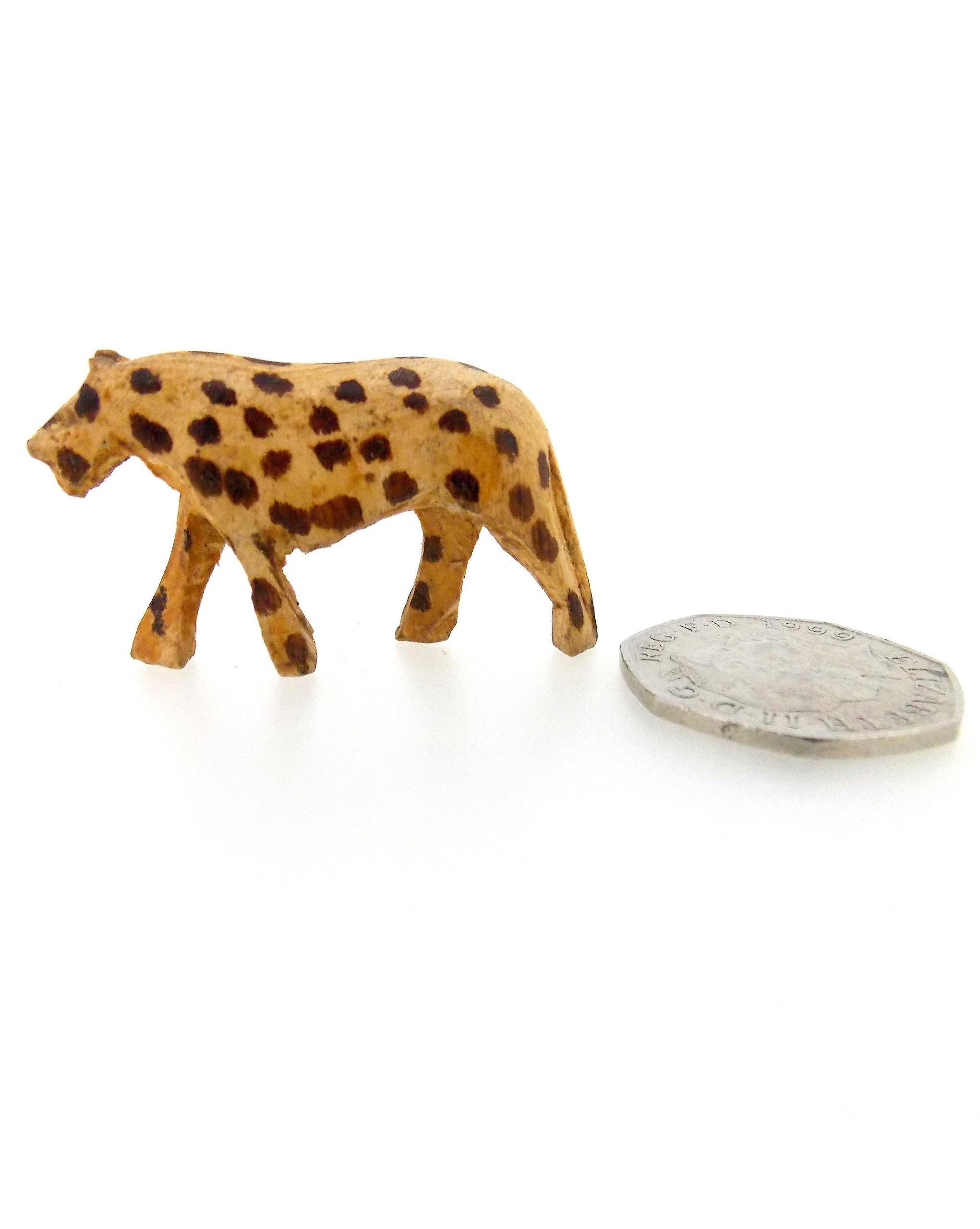 Vintage Wooden Leopard Figurine Family - 4 Piece Set