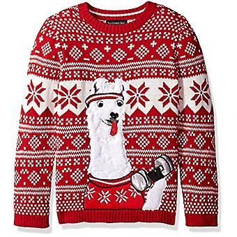Blizzard Bay Boys Ugly Chrismas Sweater Animals, White/red/Llama, 14-16 L