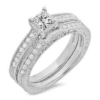 Dazzlingrock Collection 0.80 Carat (ctw) 14k Round & Princess Diamond Ladies Bridal Set 3/4 CT White Gold
