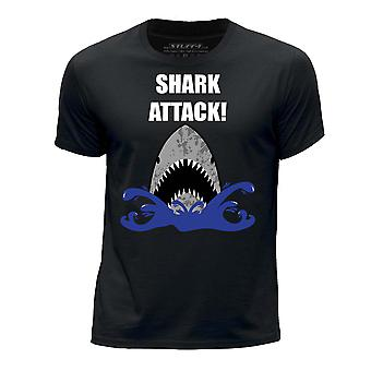 STUFF4 Boy's Round Neck T-Shirt/Shark Attack!/Black