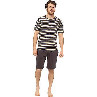 Tom Franks Mens Jersey Striped Short Cotton Pyjama Set