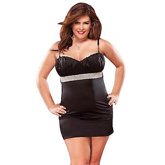 Plus Size Lingerie Rhinestone Trim Dress