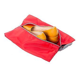 Itens essenciais por Loft 25 Impermeável Organizador de Bagagem de Bagagem Zipper Sacos de Sapato, Vermelho - Pacote de 4 (2 x tamanho padrão, 2 x tamanho grande)