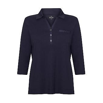 TIGI البحرية زر التفاصيل بولو قميص