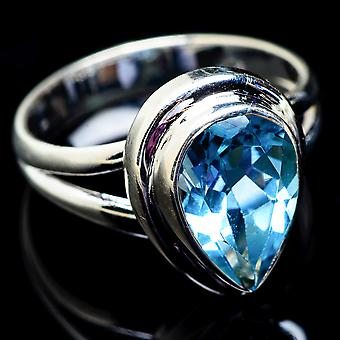 Blue Topaz Ring Size 7.5 (925 Sterling Silver)  - Handmade Boho Vintage Jewelry RING3086