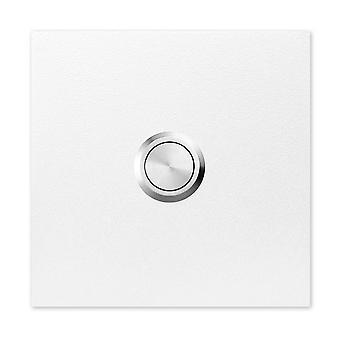MOCAVI RING 500 Sinal de sino de qualidade branco (RAL 9003) feito de aço inoxidável V4A, quadrado (8,5 cm)