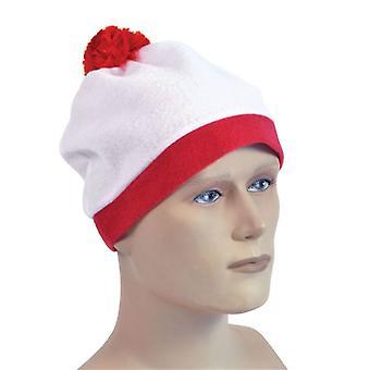 Tupsu hattu. Valkoinen + punainen Pom Pom