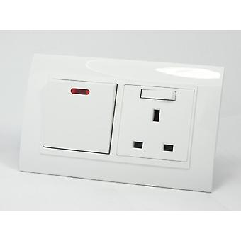 I LumoS AS Luxury White Plastic Arc Double 45A Switch with Switched 13A UK Socket