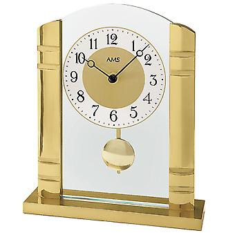 AMS 1117 Pöytäkello Kvartsi heilurin kultaista metallia alumiinilla ja lasilla