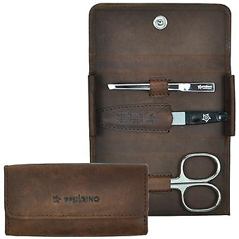 Arrow ring manicure case leather Brown, 3-piece Assembly, nickel-plated