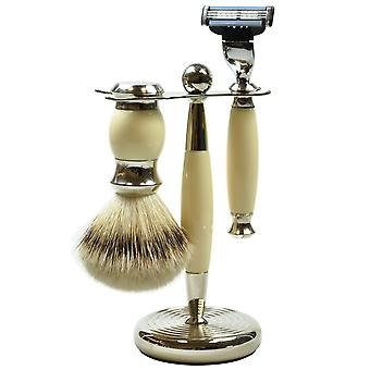 Gold roof shaving set 3-piece metal with plastic brush with badger silver tip